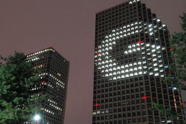 트윈타워에서 이색 광고 'G' 실시