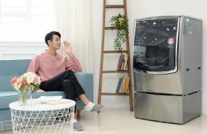 날씨 따라 세탁옵션 스스로 바꾸는 음성인식 LG 트롬 씽큐 드럼세탁기