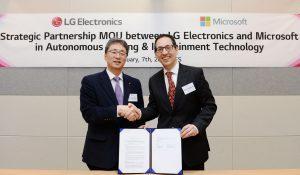 LG전자 ・ 마이크로소프트, 인공지능 자율주행 SW 개발 MOU 체결