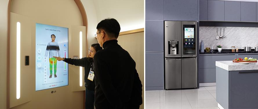 CES 2020에서 선보인 LG 씽큐 핏(좌) 및 스마트 냉장고(우)