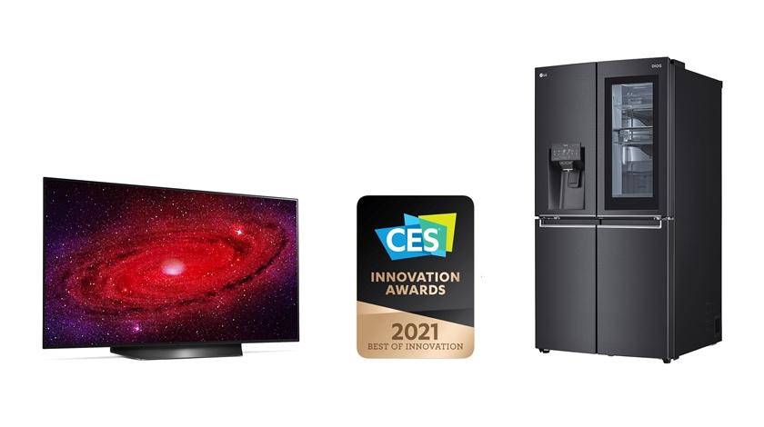LG전자가 내년 초 열리는 세계 최대 IT 전시회 CES2021 개막을 앞두고 최고 혁신상 2개를 포함해 역대 최다인 총 24개 CES 혁신상을 수상했다. 특히 LG 올레드 TV는 2년 연속으로 CES 최고 혁신상을 수상하며 현존 최고 TV임을 거듭 입증했다. 사진 왼쪽부터 CES 최고 혁신상을 받은 48형 LG 올레드 TV와 음성인식 인스타뷰 냉장고.