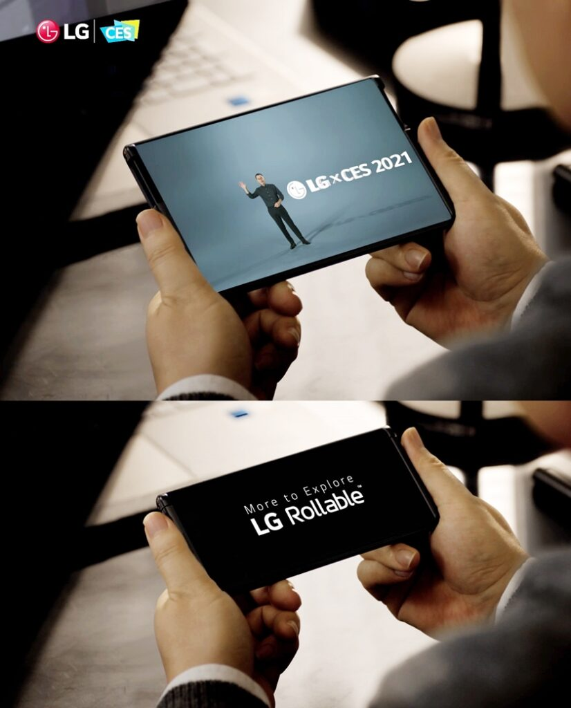 LG전자의 차세대 전략 스마트폰 LG 롤러블(LG Rollable)이 미 동부시간 13일 오후(한국시간 14일 아침) CES 공식 어워드 파트너인 엔가젯(Engadget)이 시상하는 CES 2021 최고상(2021 Best of CES Awards)에서 최고 모바일 기기(Best Phone or Mobile Device)로 선정됐다. 사진은 CES 2021 개막 첫 날 진행된 LG전자 프레스 콘퍼런스에서 공개된 LG 롤러블의 모습.
