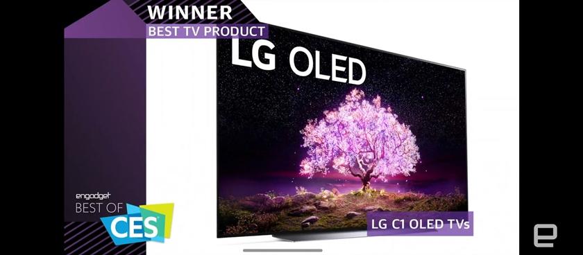 LG 올레드 TV가 미 동부시간 13일 오후(한국시간 14일 아침) CES 공식 어워드 파트너인 엔가젯(Engadget)이 시상하는 CES 2021 최고상(2021 Best of CES Awards)에서 최고 TV(Best TV Product)로 선정됐다. LG 올레드 TV는 7년 연속으로 CES 공식 어워드의 최고 TV 상을 수상하는 영예를 얻었다. 사진은 엔가젯의 CES 2021 최고상 시상식 장면 캡쳐.