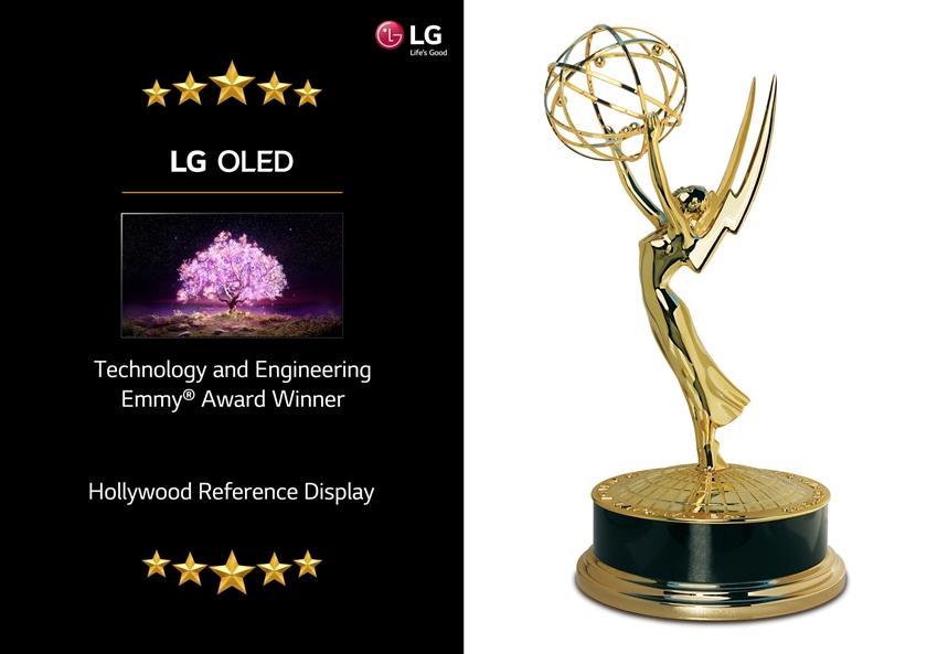 LG 올레드 TV가 미 텔레비전예술과학아카데미(NATAS)로부터 기술공학 에미상(Technology and Engineering Emmy Award)을 받았다. LG 올레드 TV는 영상 원작자가 의도한 표현을 얼마나 섬세하게 구현하는지를 확인하는 영상품질 참조용 디스플레이로 활용될 만큼 정확한 색을 표현하는 점을 높이 평가받았다. 사진은 LG 올레드 TV와 에미상 트로피