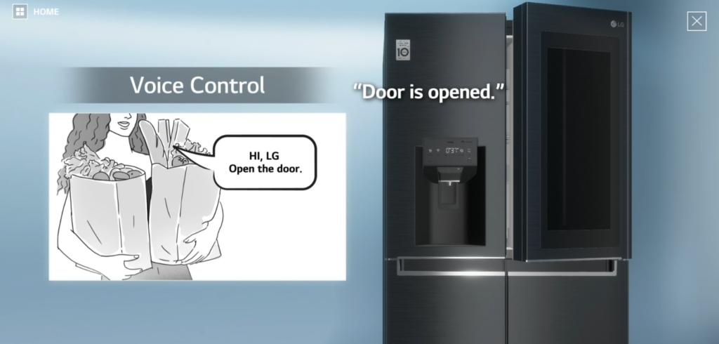 음성인식 기능이 탑재되어 있는 2021년형 인스타뷰 냉장고
