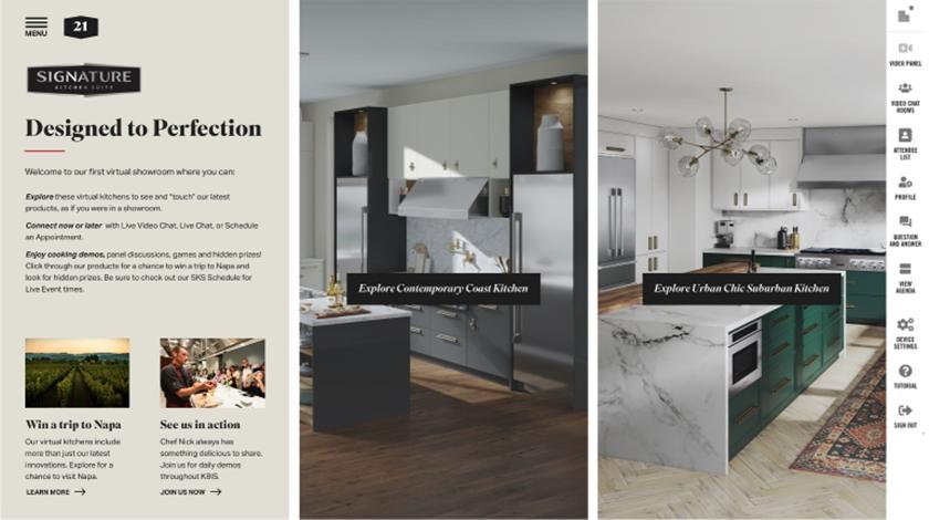 LG전자가 현지시간 9일부터 12일까지 온라인으로 열리는 KBIS(The Kitchen & Bath Industry Show) 2021에 참가해 미국 빌트인 시장 공략을 위한 차별화된 제품을 대거 선보인다. 사진은 LG전자가 운영하는 가상 전시관 가운데 超프리미엄 빌트인 '시그니처 키친 스위트'.
