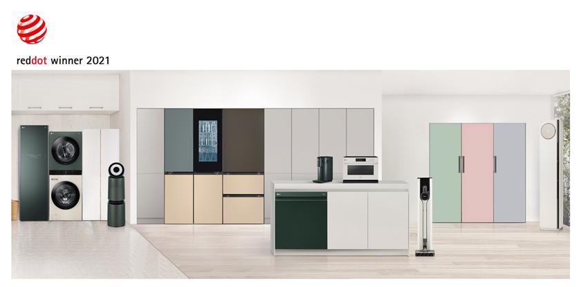 LG전자 공간 인테리어 가전 '오브제컬렉션'이 세계 3대 디자인상 가운데 '레드닷 디자인 어워드'와 'iF 디자인 어워드'를 연이어 수상하며 디자인 우수성을 입증했다. 사진 왼쪽부터 LG 오브제컬렉션 스타일러, 워시타워, 공기청정기, 상냉장 하냉동 냉장고, 김치 냉장고, 식기세척기, 정수기, 광파오븐, 청소기, 1도어 냉장·냉동·김치 컨버터블 냉장고, 휘센 타워.