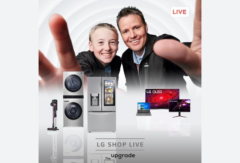 LG전자가 미국에서 처음 선보이는 라이브커머스 플랫폼 '더업그레이드(The Upgrade)'를 활용해 실시간으로 고객들에게 제품을 소개하고 질문에 응답하며 판매까지 한다. 현지시간 26일 오후 1시에 시작하는 첫 라이브 방송은 인기 유튜브 채널 왓츠인사이드?(What's Inside?)의 댄(Dan, 오른쪽)과 링컨(Lincoln, 왼쪽)이 진행한다. 이날 LG 워시타워, 인스타뷰 냉장고, 올레드 TV, 그램 노트북, 울트라기어 게이밍모니터, 무선청소기 등이 소개될 예정이다.