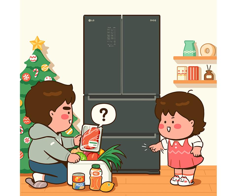 LG전자 x 캐리그로우 콜라보 작품, 식재료들을 LG 디오스 김치톡톡에 넣으려는 캐리맨과 캐리