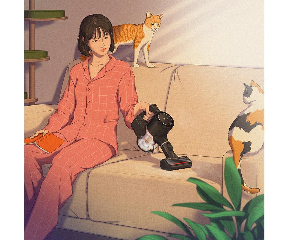 LG전자 x 정5 콜라보 작품, 소파에 쉬며 LG 코드제로 A9S 펫으로 고양이들의 털을 청소하는 모습