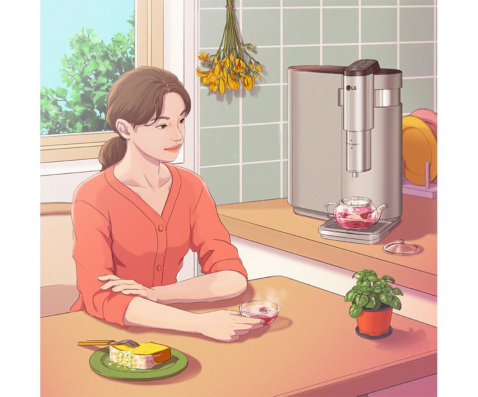 LG전자 x 정5 콜라보 작품, LG 퓨리케어 상하좌우 정수기 물로 끓인 차와 함께 식탁에 앉아있는 모습