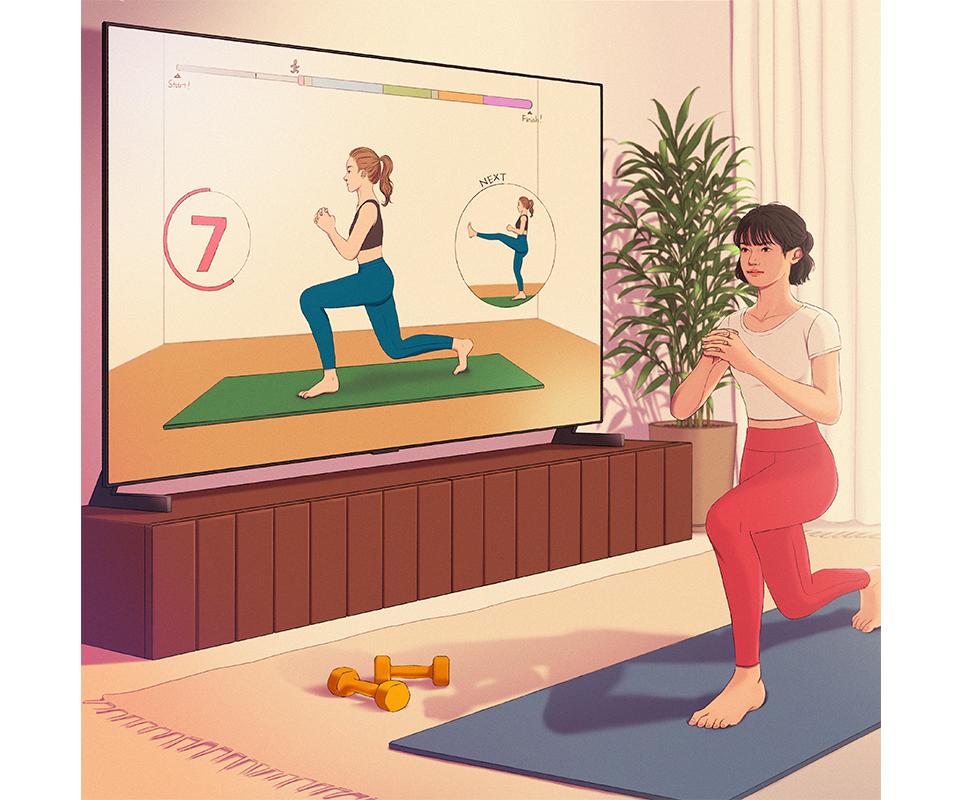 LG전자 x 정5 콜라보 작품, LG 올레드 TV에 나오는 가이드 영상과 함께 홈트(홈트레이닝)를 하는 모습