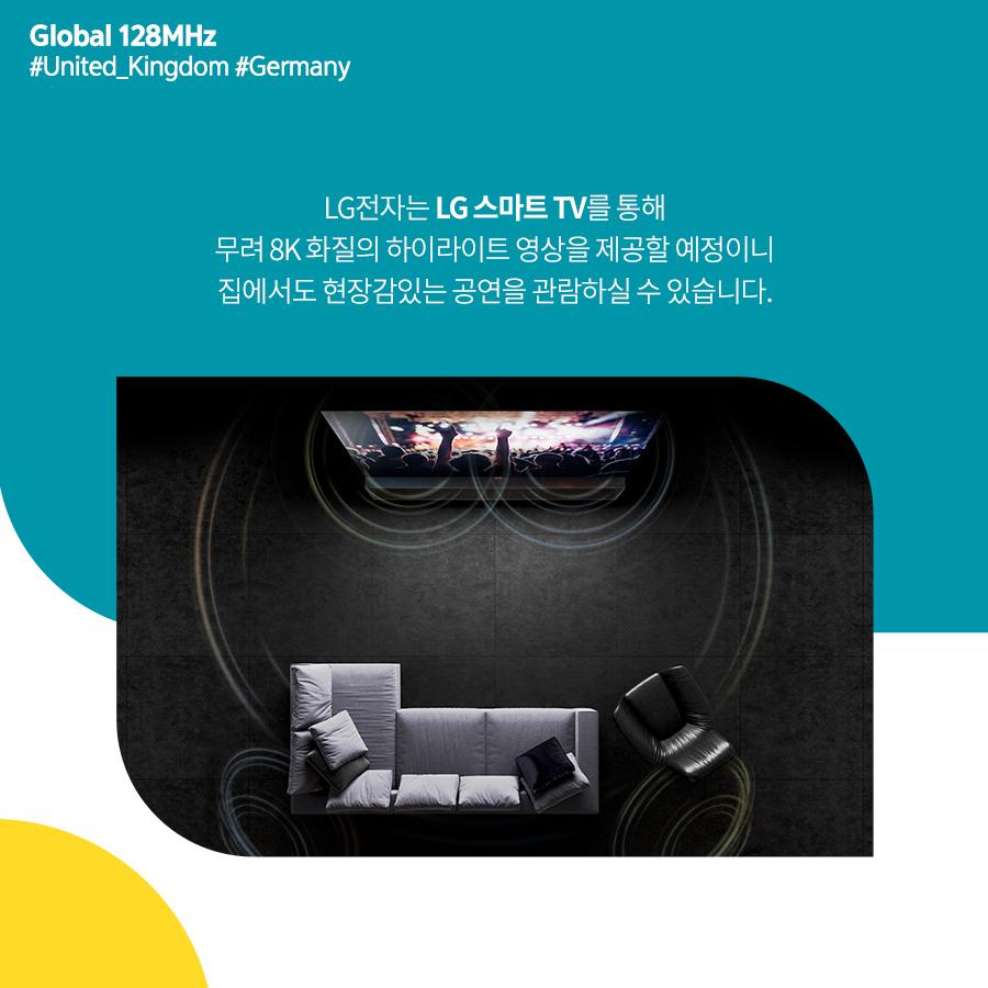 LG전자는 LG 스마트 TV를 통해 무려 8K 화질의 하이라이트 영상을 제공할 예정이니 집에서도 현장감있는 공연을 관람하실 수 있습니다.