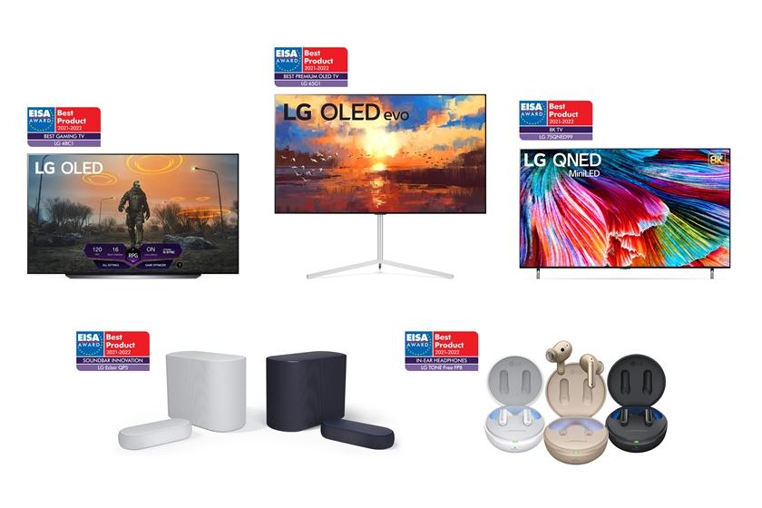 왼쪽부터 시계방향으로 48형 LG 올레드 TV,  LG 올레드 에보, LG QNED MiniLED, LG 톤 프리, LG 사운드 바 에클레어.