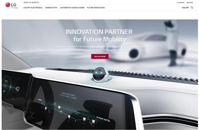 LG전자가 전장사업에서 더 많은 고객들과 소통하며  브랜드 가치를 높이기 위해 오픈한 글로벌 모빌리티 웹사이트의 이미지