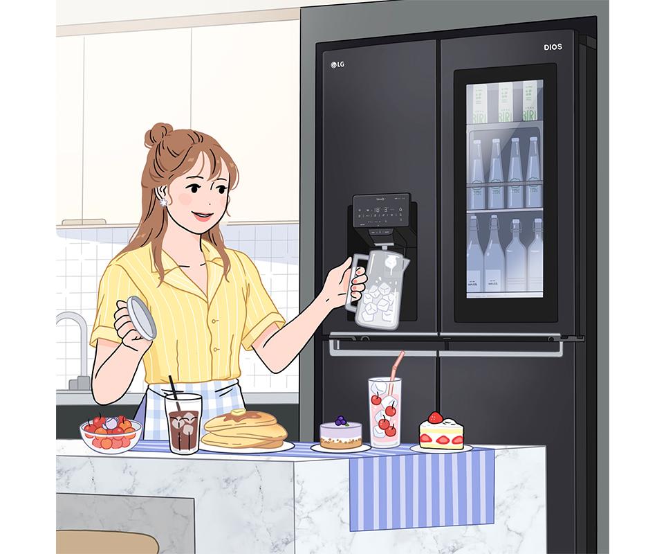 LG전자 인스타그램 '소르르 작가 X LG DIOS 얼음정수기냉장고 콜라보레이션'
