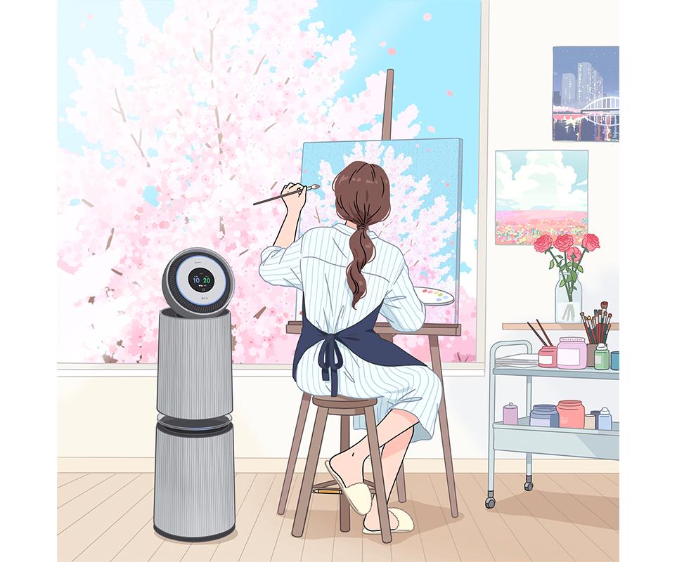 LG전자 인스타그램 '소르르 작가 X LG 퓨리케어 360° 공기청정기 알파 콜라보레이션'