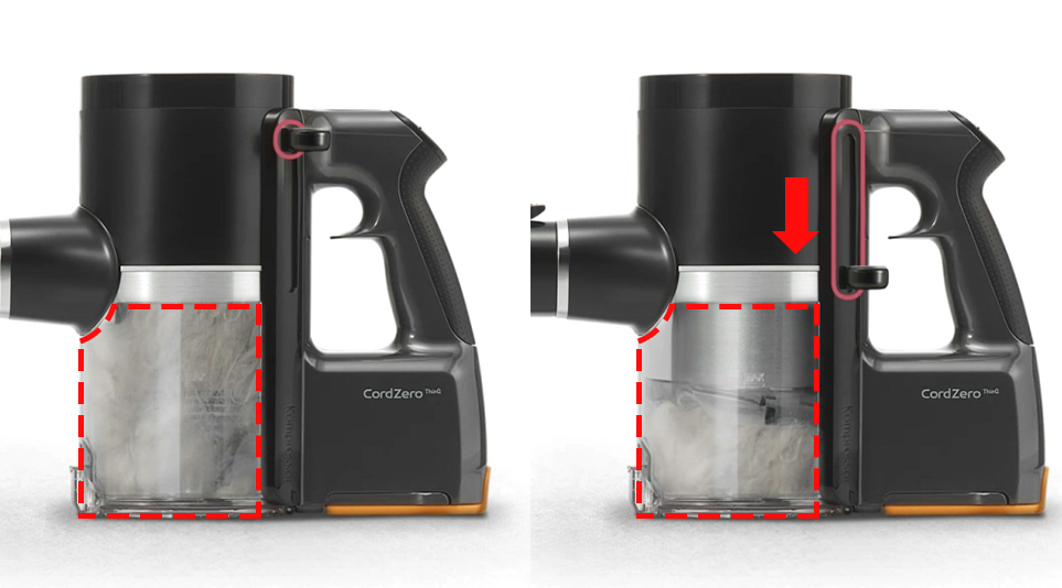 레버 하나로 먼지를 간편하게 먼지를 배출하도록 돕는 LG 코드제로 A9S의 간편 비움 시스템