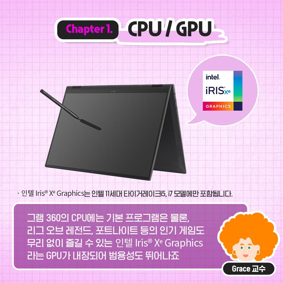 그램 360의 CPU에는 기본 프로그램은 물론, 리그 오브 레전드, 포트나이트 등의 인기 게임도 무리 없이 즐길 수 있는 인텔 Iris Xe Graphics 라는 GPU가 내장되어 범용성도 뛰어나죠