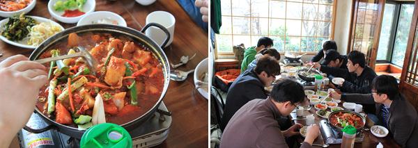 식당음식 사진,식당 음식을 먹고있는 블로거들의 사진