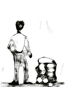 가상 로보트와 남자의 뒷 모습 그림 이미지