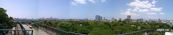 성터에서 파노라마 모드로 찍은 후쿠오카 전경
