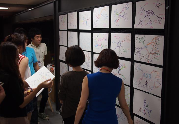 벽에 붙여놓은 마인드 맵을 보며 설명을 듣고있다. 전시가 된 벽면 옆에서 남성분이 설명하고 여성분들이 듣고 있는 모습이다.