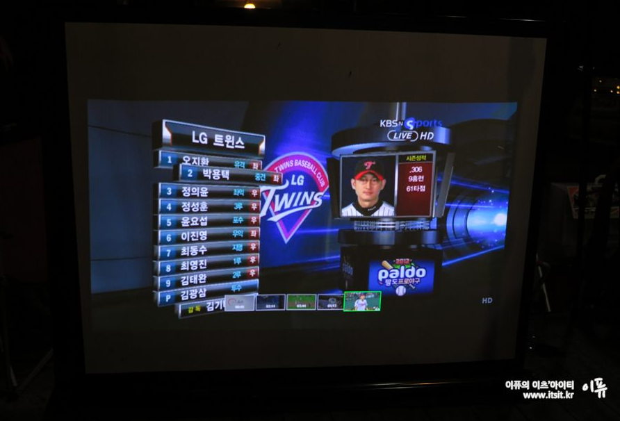 LG 미니빔 TV를 통해 상영되고 있는 프로야구경기의 한 장면이 스크린에 나타나고 있다.