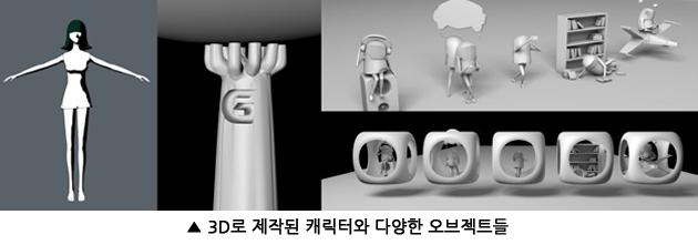 3D로 제작된 캐릭터와 다양한 오브젝트 이미지
