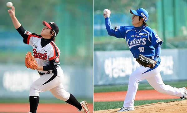 (좌) 블랙펄스 선발 투수 이유영 선수 (우) 레이커스 선발 투수 유경희 선수의 모습