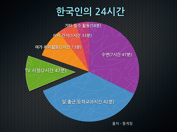 한국인의 24시간 그래프 이미지