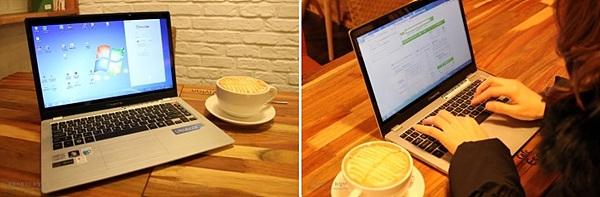 노트북 LG Z330 사용하는 모습