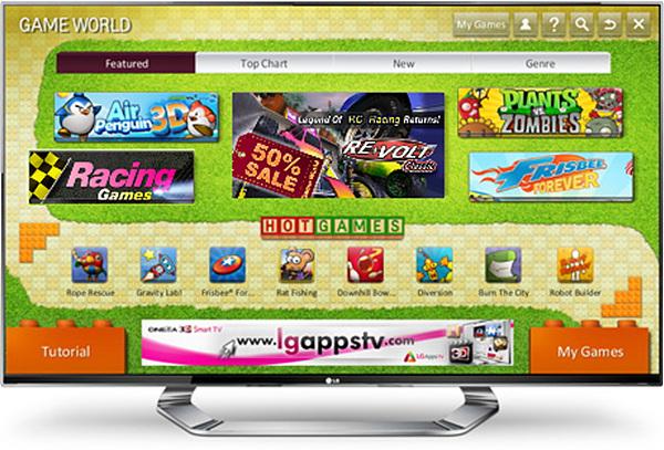 LG 시네마 3D TV 에서 게임 화면