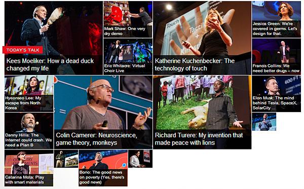 TED 공식 페이지 메인 화면