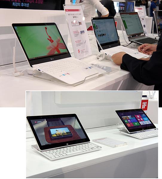 초슬림 울트라북 G Z360과 탭북이 여러 대 설치되어 있는 모습이다.
