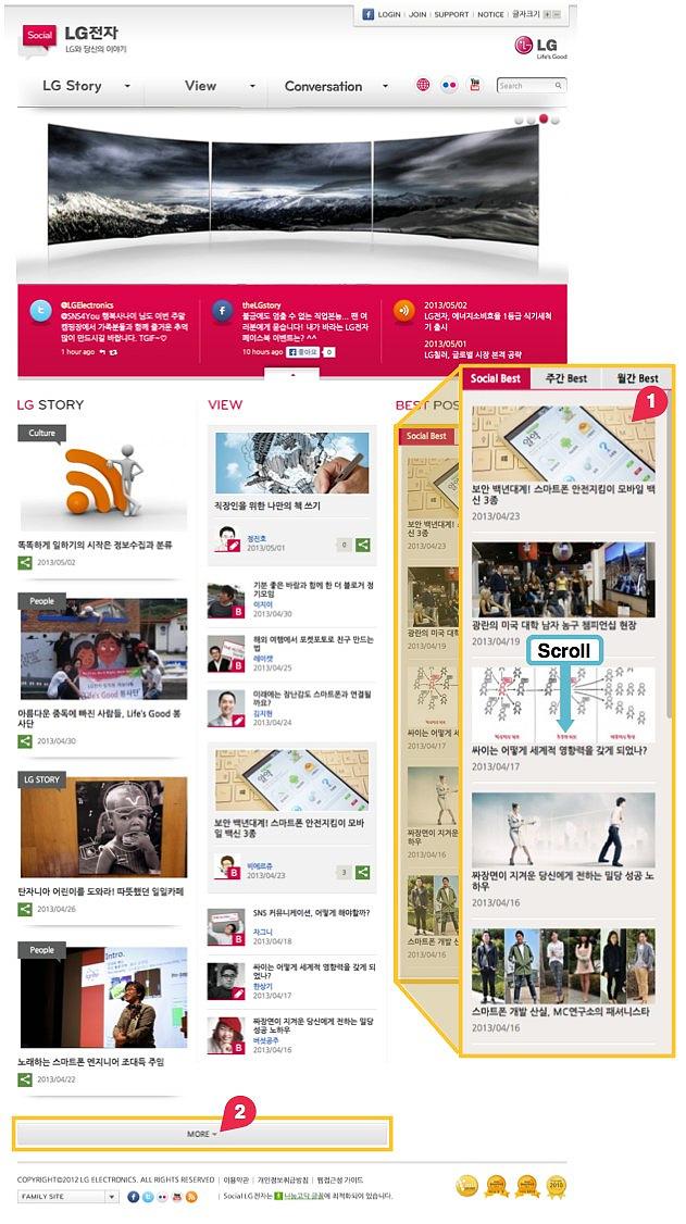 개편된 소셜LG의 가장 첫페이지의 모습이다. 하단 오른쪽에는 여러 개편사항 중 중요한 점인 '베스트'코너 기능을 강조해 블로그 콘텐츠가 재노출되는 모습이 확대되어있다. 중앙에는 스크롤이라는 글자로 스크롤로 각 섹션을 볼 수 있는 것을 강조하고 있다.