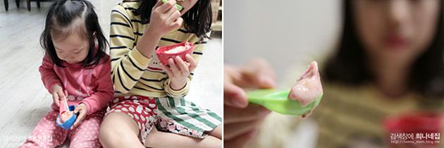 과일 아이스크림을 즐기는 아이들