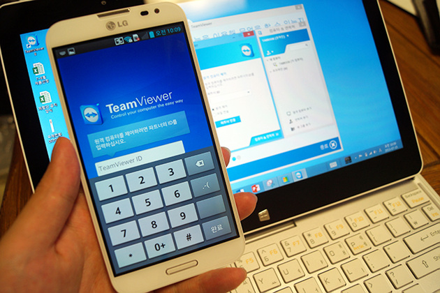 옵티머스 G Pro - 탭북을 팀뷰어로 통해 원격제어 하는 법