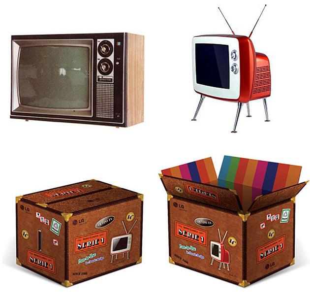 클래식 TV 디자인의 영감을 불러일으킨 과거 LG TV와 제품 패키지의 모습이다.