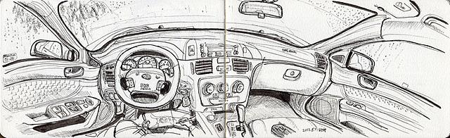 비가 그치기를 기다리며 자동차 안에서 그린 그림