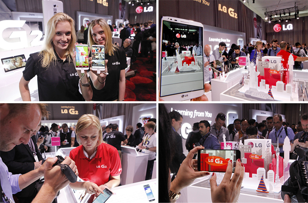 스태프의 설명을 듣고, 직접 촬영 하는 등 LG G2를 만나고 있는 다양한 사람들의 모습이 보인다.
