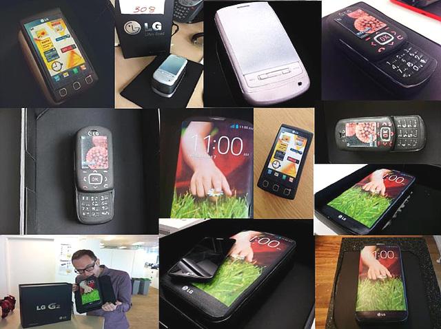 다양한 종류의 LG 휴대폰과 같은 모양의 케이크들이 있다.