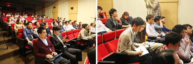 이그나이트LG에서 발표자들의 발표를 경청하는 참가자들의 모습이다