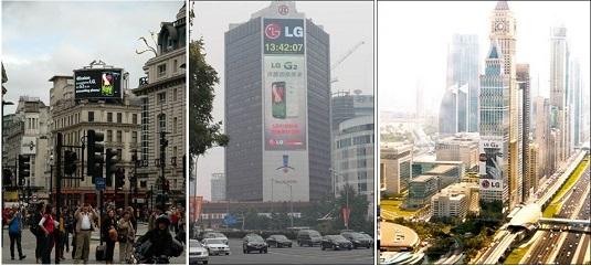 왼쪽부터 런던 피카딜리 서커스, 중국 북경 경신빌딩, 두바이 더 타워에 설치된 LG G2의 광고가 보인다.