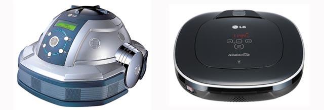 LG전자의(좌)1세대 로보킹과 (우) 현재의 로보킹 듀얼아이 블랙 컬러 버전이다