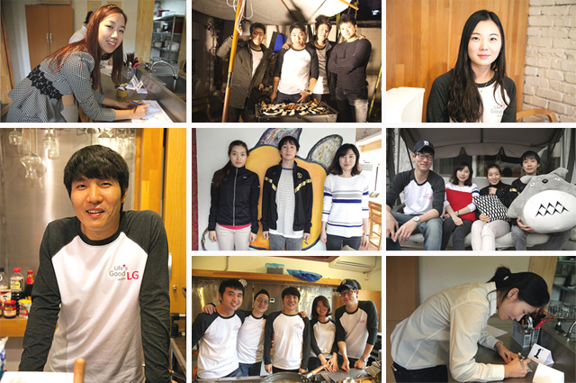 일일카페 봉사단의 모습이 담긴 사진이 여러장 모여있다.