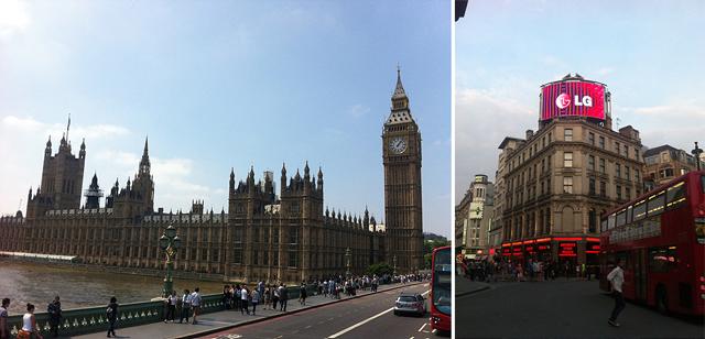 영상 제작을 위해 떠난 영국 런던의 야외 모습이다. 엘지전자를 홍보하는 옥외광고물이인상적이다