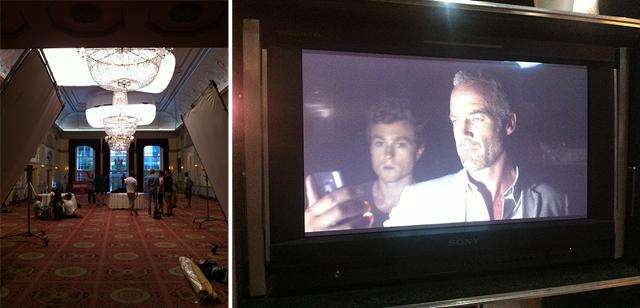 미지의 세계 영상 촬영 현장. 왼쪽은 실내에서 촬영하는 모습과 오른쪽은 배우의 모습이 모니터에 보인다