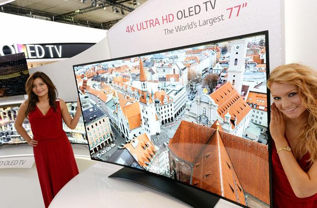 LG전자가 지난 9월 독일 베를린에서 열린 IFA 2013에서 선보인 세계 최대 77형 울트라HD 곡면 올레드 TV