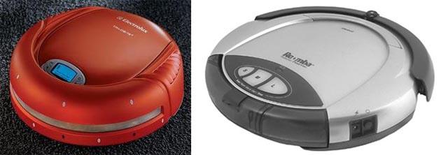 좌)일렉트로룩스의 빨간색 로봇청소기와 (우) 회색 빛의 아이로봇 청소로봇 이다